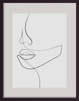 Kontinuierliche one-line-zeichnung. schönheit gesichter kunst. ein zeilenportrait. minimalistisches portrait-design.