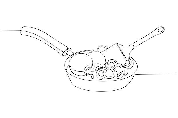 Kontinuierliche pfannenlinienzeichnung mit konzeptvektorillustration für das kochen von frischem gemüse