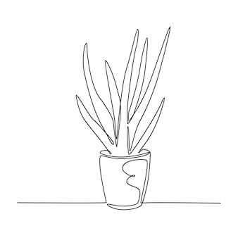 Kontinuierliche strichzeichnung der aloe vera-pflanze in topfvektorillustration