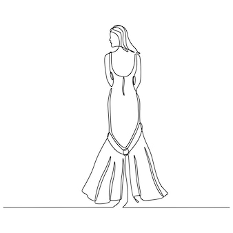 Kontinuierliche strichzeichnung der frau im hochzeitskleid-rückansicht-vektor-illustration