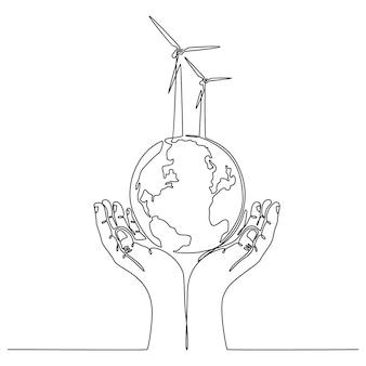 Kontinuierliche strichzeichnung der hand mit globus-energiesparkonzept-vektor-illustration