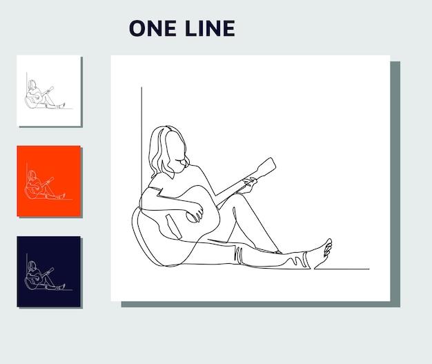 Kontinuierliche strichzeichnung der jungen frau, die gitarre spielt.