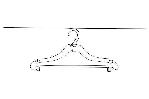 Kontinuierliche strichzeichnung der kleiderbügel-vektorillustration