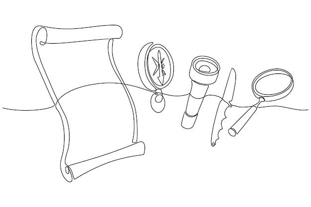 Kontinuierliche strichzeichnung der kletterausrüstung vektor-illustration