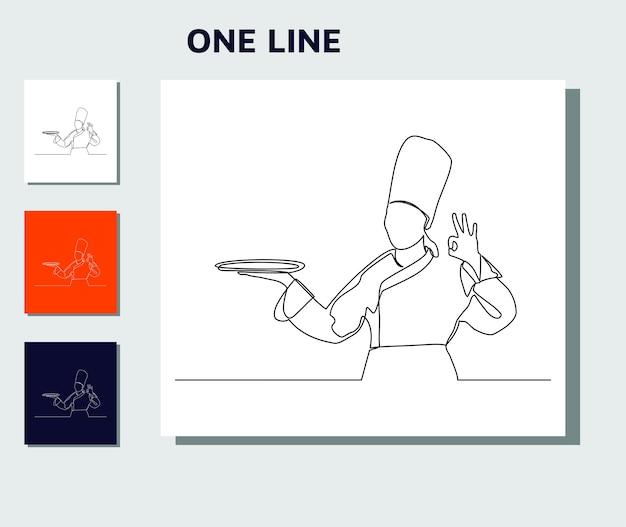 Kontinuierliche strichzeichnung der kochküche