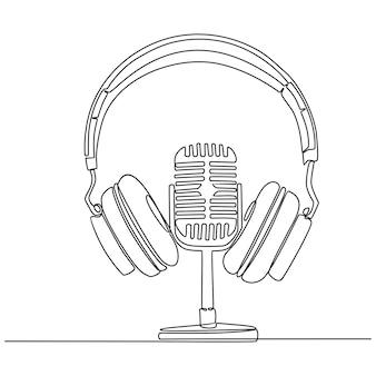 Kontinuierliche strichzeichnung der mikrofon- und kopfhörervektorillustration