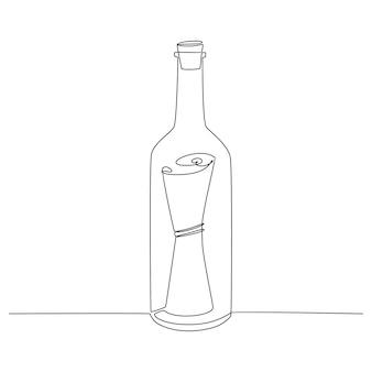 Kontinuierliche strichzeichnung der nachricht in der flaschenvektorillustration