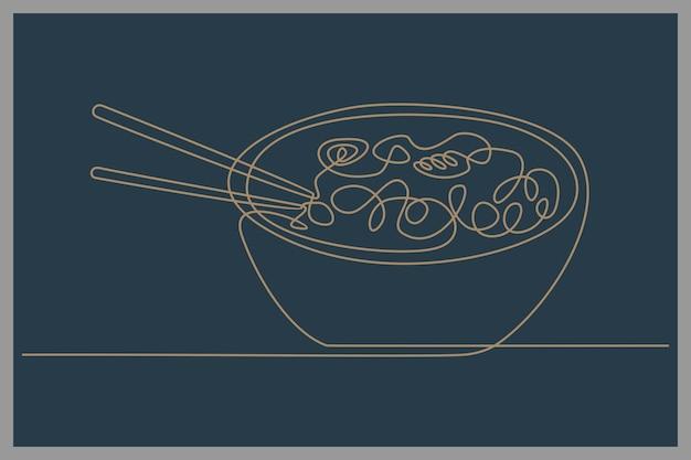Kontinuierliche strichzeichnung der servierschüssel mit ramen-vektorillustration