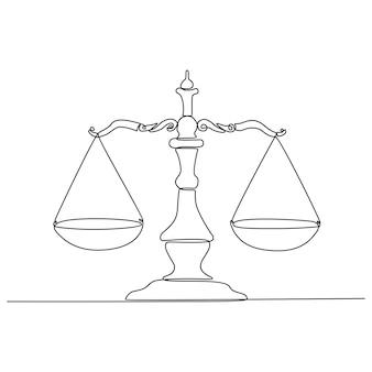 Kontinuierliche strichzeichnung der symbolvektorillustration der gerichtswaage