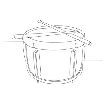 Kontinuierliche strichzeichnung der trommel mit drumsticks-vektorillustration
