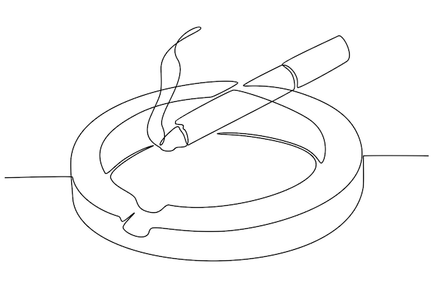 Kontinuierliche strichzeichnung der zigarette auf aschenbecher-vektorillustration