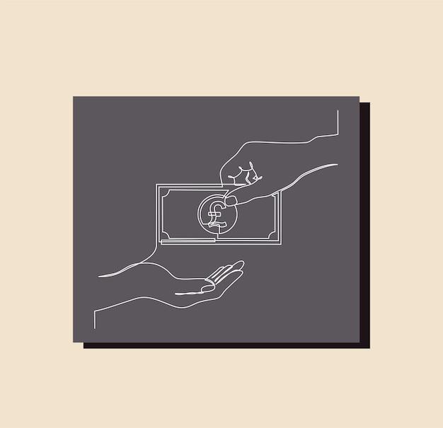 Kontinuierliche strichzeichnung des geldbeutels, pfund sterling symbol