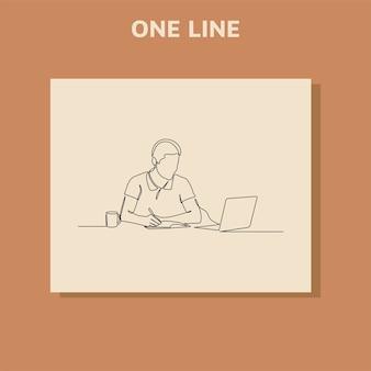 Kontinuierliche strichzeichnung des geschäftsmannes mit laptops.