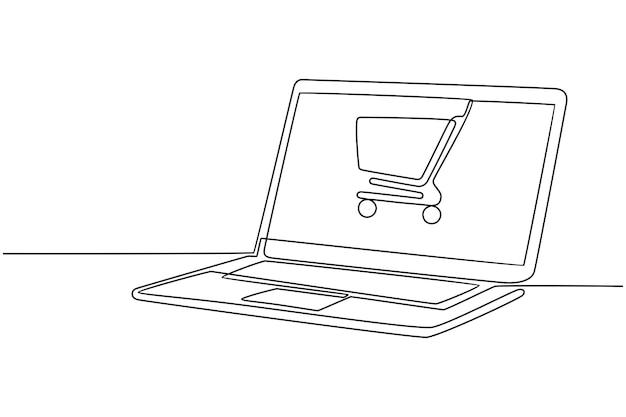 Kontinuierliche strichzeichnung des online-shopping-konzepts auf einer laptop-vektorillustration