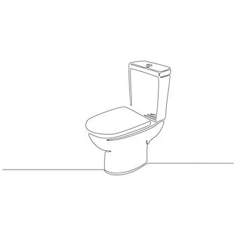 Kontinuierliche strichzeichnung des toilettendesignvektors