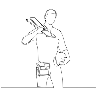Kontinuierliche strichzeichnung des zimmermanns mit helm und rahmen isoliert auf weißem hintergrundvektor