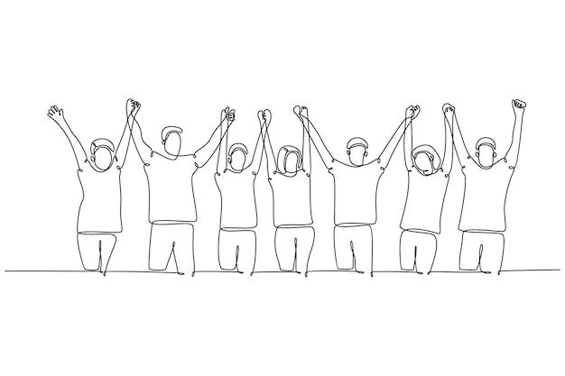Kontinuierliche strichzeichnung eine gruppe von menschen, die händchen halten, erhobene hände strichzeichnung vektor illustrat