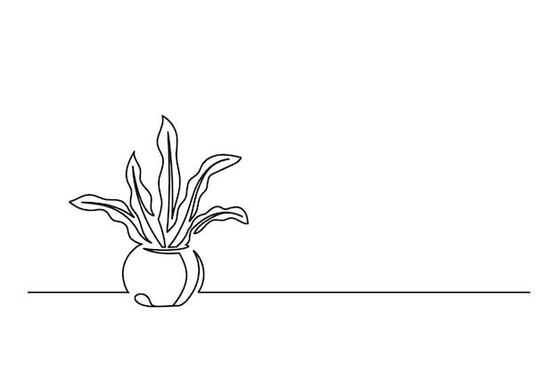 Kontinuierliche strichzeichnung einer blume in einem topf