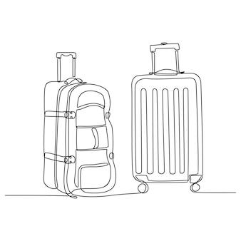 Kontinuierliche strichzeichnung einer koffertasche-vektorillustration