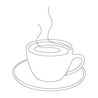 Kontinuierliche strichzeichnung einer tasse kaffee oder tee. kontur des heißgetränks mit rauch lokalisiert auf weißem hintergrund. abstrakte vektorillustration
