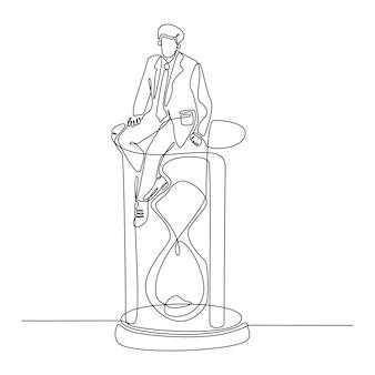 Kontinuierliche strichzeichnung eines erfolgreichen geschäftsmannes, der die zeit teilt und auf einem sanduhrvektor sitzt