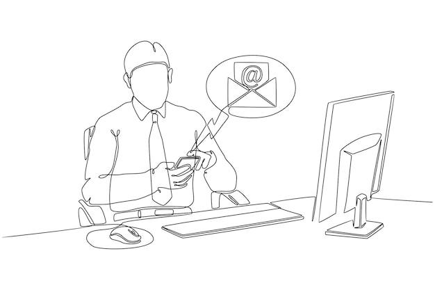 Kontinuierliche strichzeichnung eines geschäftsmannes am computer beim öffnen von hp e-mail-vektorillustration anzeigen
