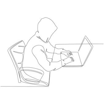 Kontinuierliche strichzeichnung eines hackers mit einem laptop, der daran denkt, nach internet-geldvektoren zu suchen