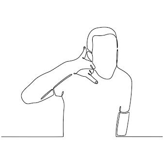 Kontinuierliche strichzeichnung eines mannes, der eine telefongeste von hand in vektorillustration macht