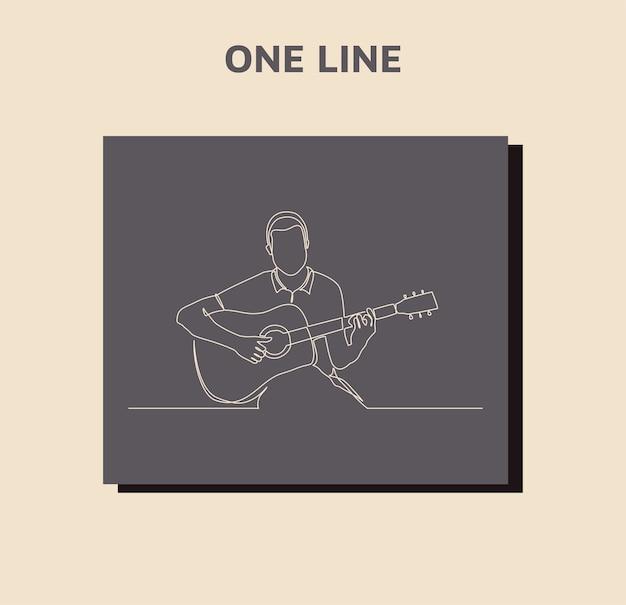 Kontinuierliche strichzeichnung eines mannes, der gitarre spielt
