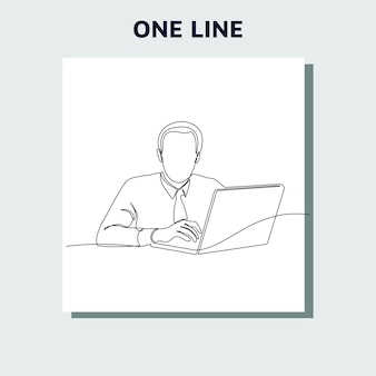Kontinuierliche strichzeichnung eines mannes, der ideen vor einem computer sucht