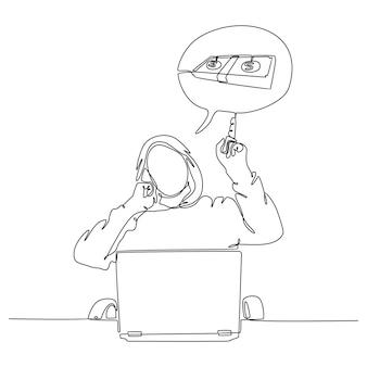 Kontinuierliche strichzeichnung eines telefonhackers vor einer laptop-vektorillustration