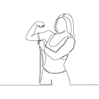 Kontinuierliche strichzeichnung frau mit maßband in diät-konzept-vektor-illustration