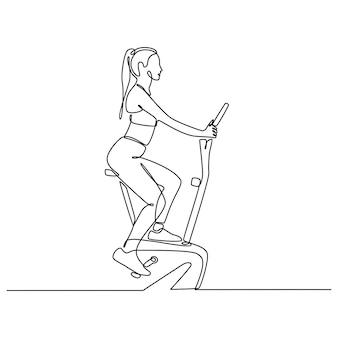 Kontinuierliche strichzeichnung junge frau, die eine stationäre fahrradsportkonzeptvektorillustration fährt