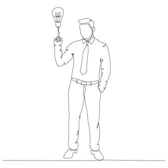 Kontinuierliche strichzeichnung konzeptgeschäftsmann auf der suche nach ideenvektorillustration