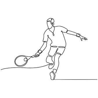 Kontinuierliche strichzeichnung männlicher tennisspieler-vektor-illustration