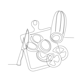 Kontinuierliche strichzeichnung messer mit gemüse frisches gemüse kochkonzept vektor-illustration