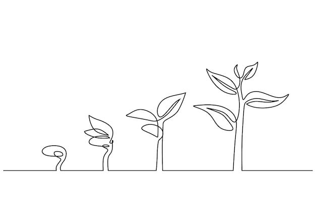Kontinuierliche strichzeichnung pflanzenwachstum