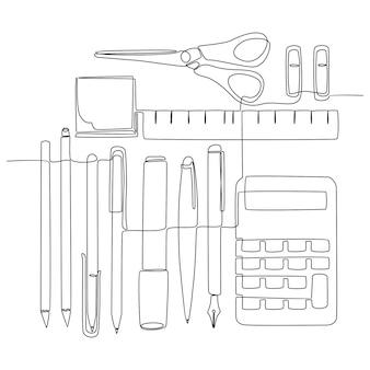 Kontinuierliche strichzeichnung schreibwerkzeug schulkonzept vektor-illustration