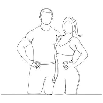 Kontinuierliche strichzeichnung sport mann und frau vektor-illustration
