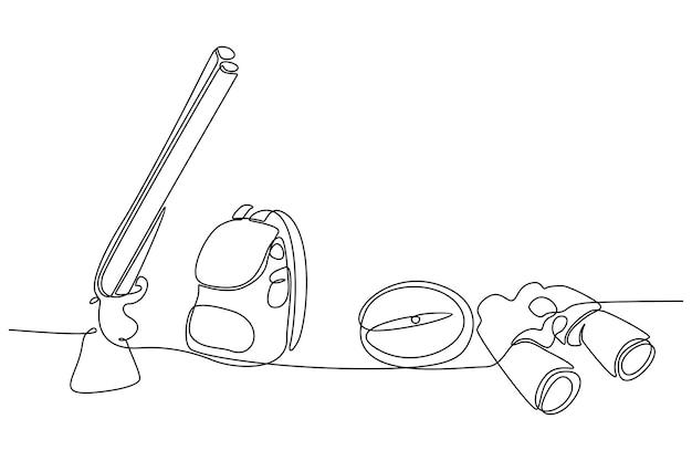 Kontinuierliche strichzeichnung von ausrüstung für die jagdvektorillustration