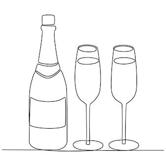Kontinuierliche strichzeichnung von bierflaschen- und glasvektorillustration