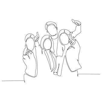 Kontinuierliche strichzeichnung von daumen hoch gruppe von studenten-vektor-illustration