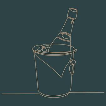 Kontinuierliche strichzeichnung von eiskübel mit biervektorillustration