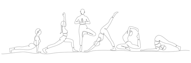 Kontinuierliche strichzeichnung von frauen, die yoga-vektor-illustration ausüben