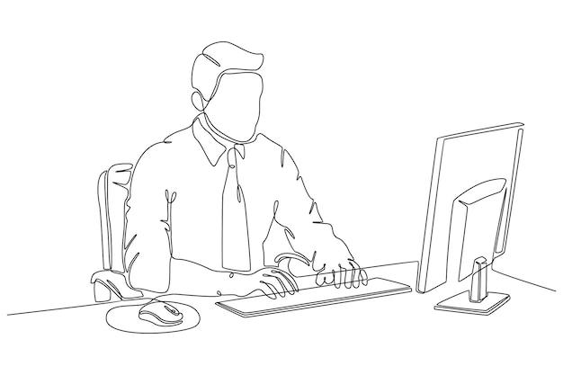 Kontinuierliche strichzeichnung von geschäftsleuten, die an computervektorillustrationen arbeiten