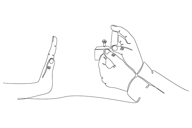 Kontinuierliche strichzeichnung von händen, die eheringe geben und mit ablehnungsvektorillustration enden