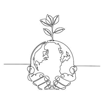 Kontinuierliche strichzeichnung von händen, die globus mit pflanzenvektorillustration halten