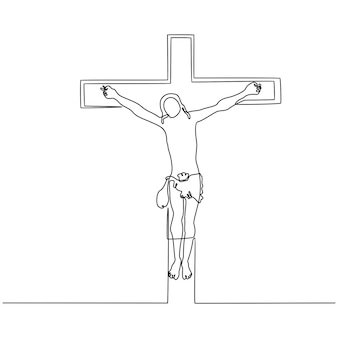 Kontinuierliche strichzeichnung von jesus am kreuz-vektor-illustration