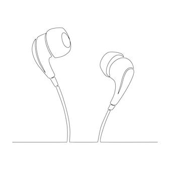 Kontinuierliche strichzeichnung von kopfhörern und musiknoten elektronisches musikvektorkonzept