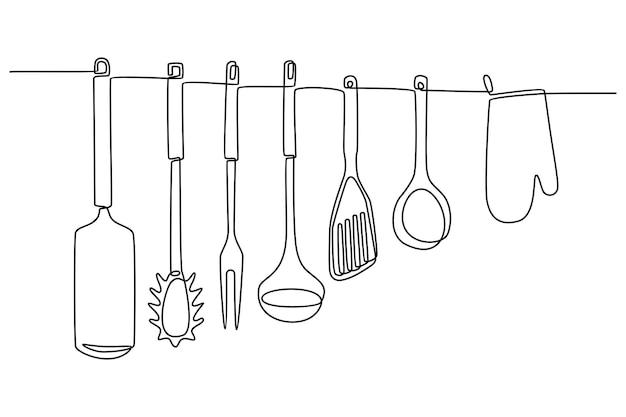 Kontinuierliche strichzeichnung von küchenutensilien isoliert auf weißer hintergrundvektorillustration